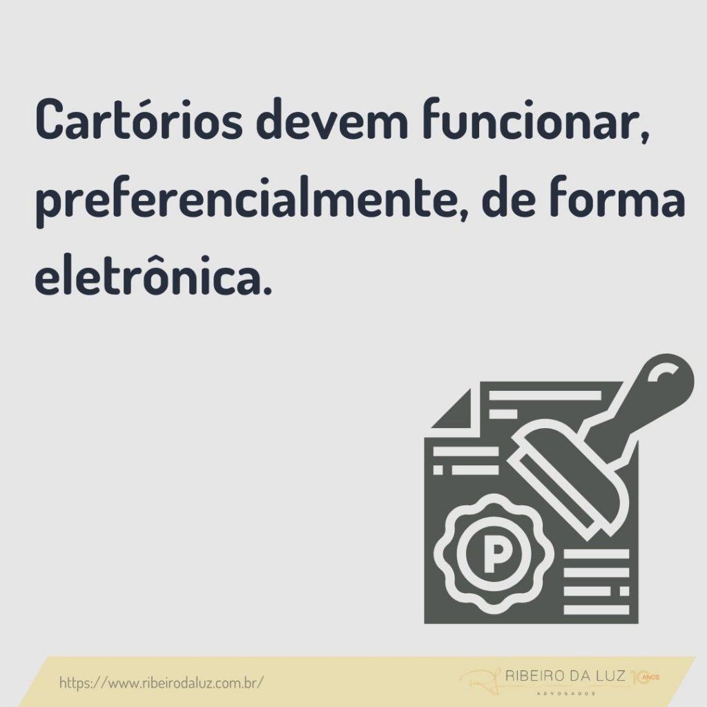 Provimento do Conselho Nacional de Justiça (CNJ), nº 95/2020, determinou o funcionamento dos serviços notariais e de registro durante a pandemia do Covid-19, preferencialmente em regime de plantão à distância.